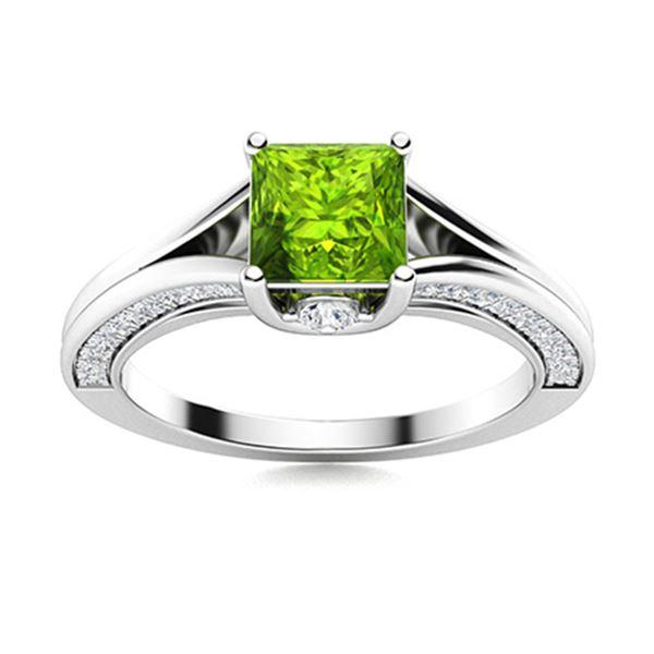 Natural 1.94 CTW Peridot & Diamond Engagement Ring 14K White Gold