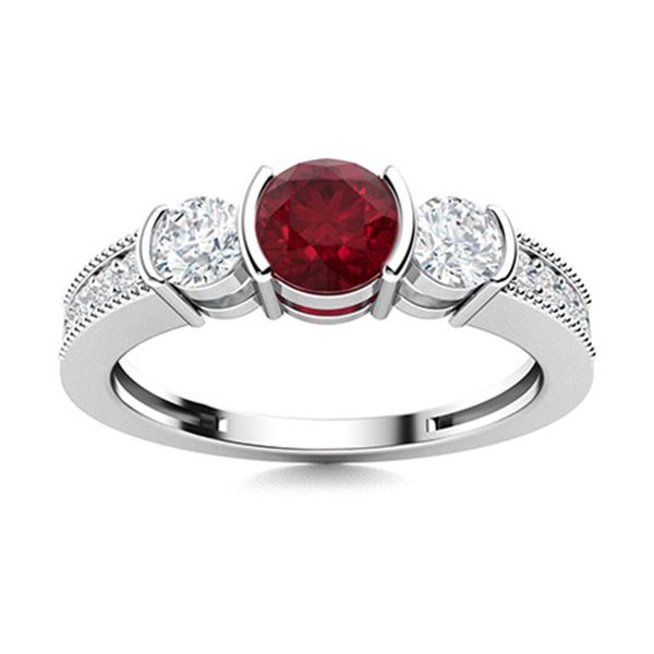 Natural 0.98 CTW Ruby & Diamond Engagement Ring 14K White Gold