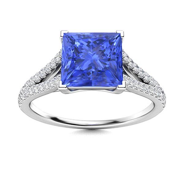 Natural 0.97 CTW Ceylon Sapphire & Diamond Engagement Ring 18K White Gold