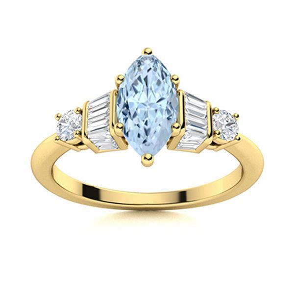 Natural 1.23 CTW Aquamarine & Diamond Engagement Ring 14K Yellow Gold