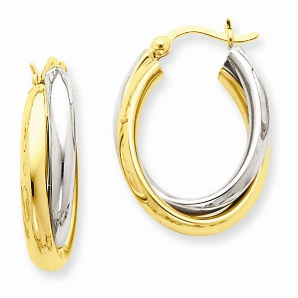 14k Solid Gold Two-Tone Polished Double Oval Hoop Earrings