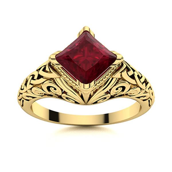 Natural 0.66 CTW Ruby Solitaire Ring 14K Yellow Gold