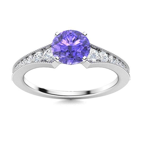 Natural 0.86 CTW Tanzanite & Diamond Engagement Ring 18K White Gold