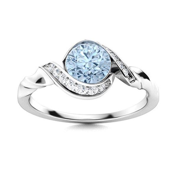 Natural 0.85 CTW Aquamarine & Diamond  Engagement Ring 18K White Gold