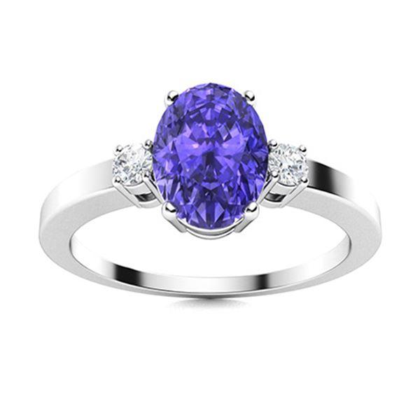 Natural 1.27 CTW Tanzanite & Diamond Engagement Ring 14K White Gold