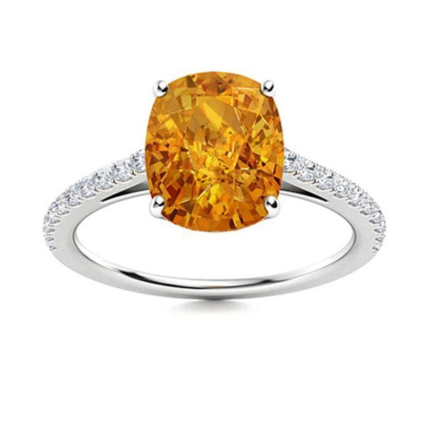 Natural 3.59 CTW Citrine & Diamond Engagement Ring 18K White Gold