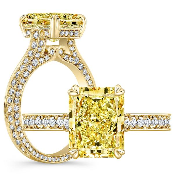Natural 2.77 CTW Canary Yellow Radiant Cut Diamond Engagement Ring 18KT Yellow Gold