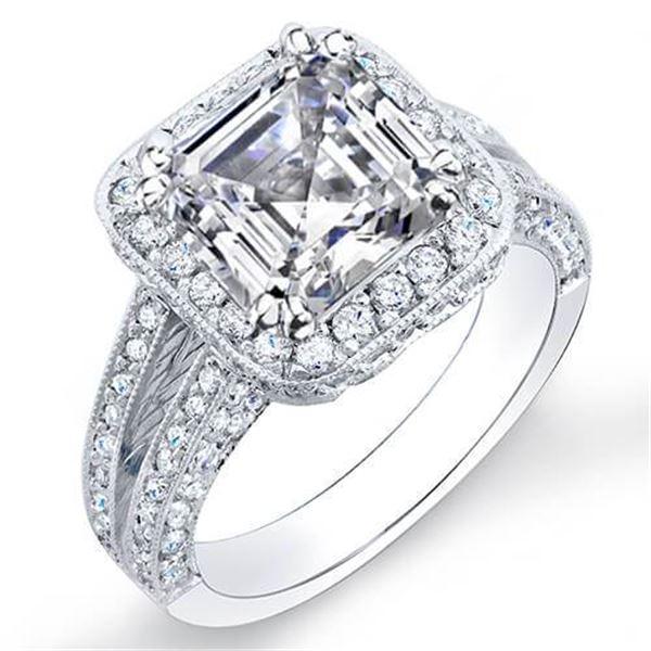 Natural 2.32 CTW Halo Split Shank Asscher Cut Diamond Engagement Ring 14KT White Gold