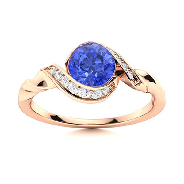 Natural 1.15 CTW Ceylon Sapphire & Diamond Engagement Ring 18K Rose Gold