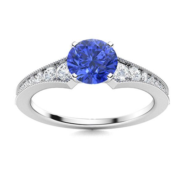 Natural 2.26 CTW Ceylon Sapphire & Diamond Engagement Ring 18K White Gold