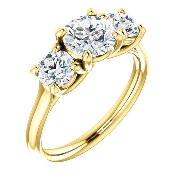 Natural 1.52 CTW 3-Stone Round Cut Diamond Engagement Ring 18KT Yellow Gold