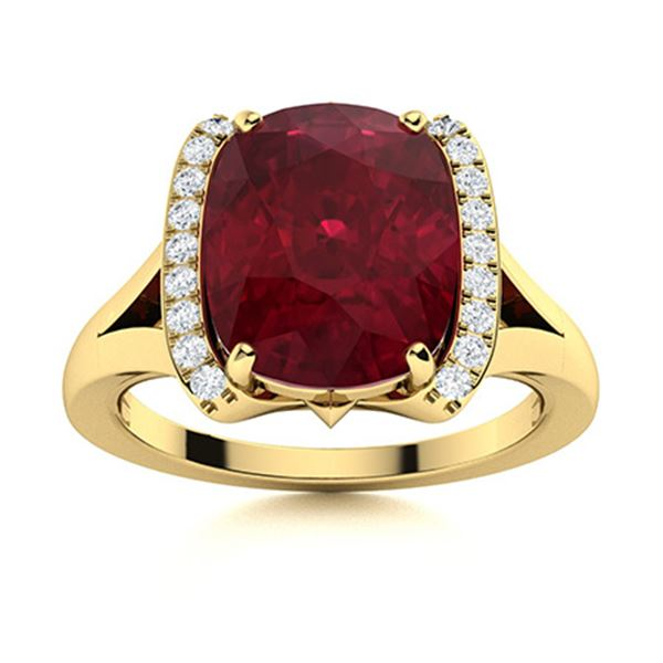 Natural 2.53 CTW Ruby & Diamond Engagement Ring 18K Yellow Gold