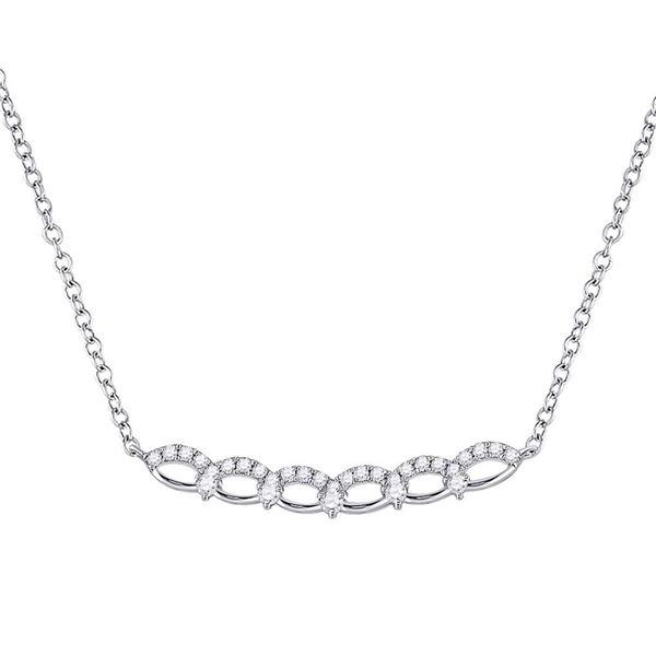 14kt White Gold Womens Round Diamond Bar Necklace 1/3 Cttw