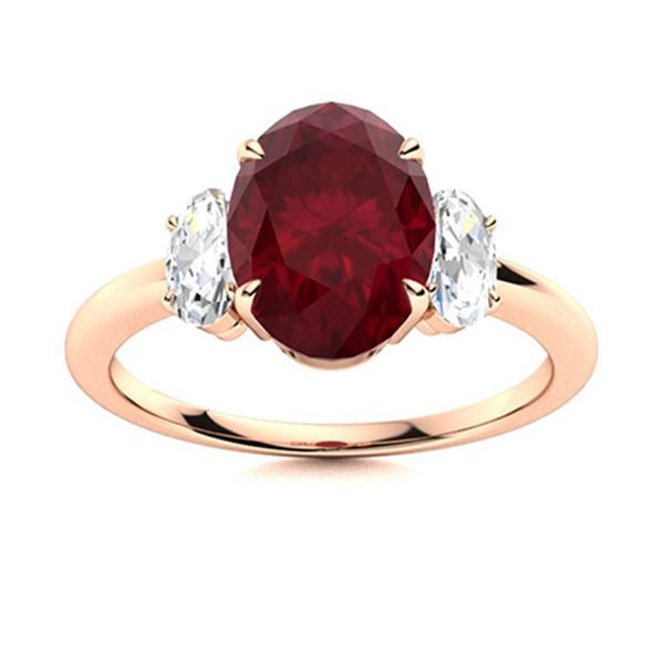 Natural 3.29 CTW Ruby & Diamond Engagement Ring 18K Rose Gold