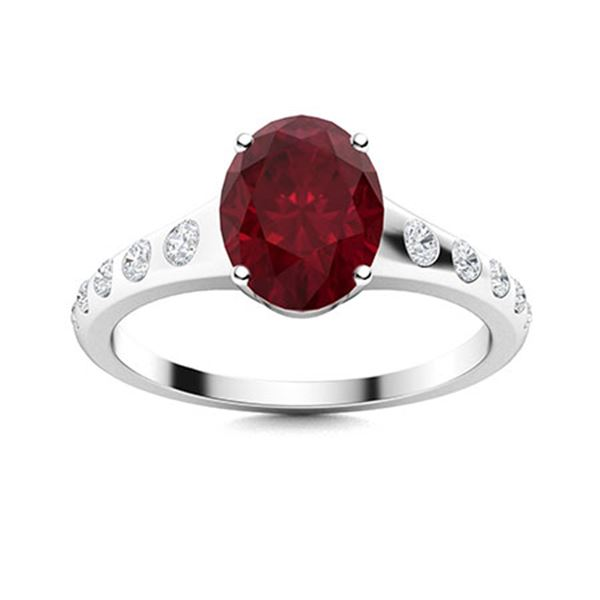 Natural 1.54 CTW Ruby & Diamond Engagement Ring 18K White Gold