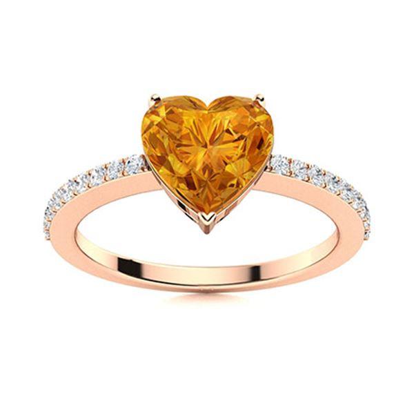 Natural 0.67 CTW Citrine & Diamond Engagement Ring 18K Rose Gold