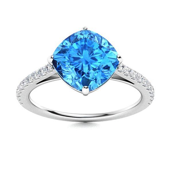 Natural 4.31 CTW Topaz & Diamond Engagement Ring 14K White Gold
