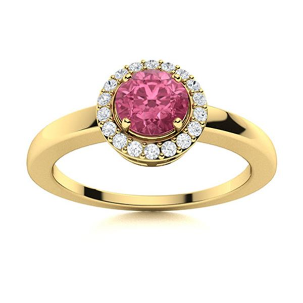 Natural 0.69 CTW Pink Sapphire & Diamond Engagement Ring 14K Yellow Gold