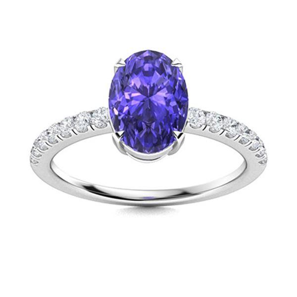 Natural 3.31 CTW Tanzanite & Diamond Engagement Ring 14K White Gold