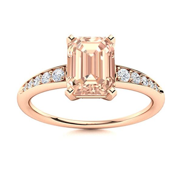Natural 0.66 CTW Morganite & Diamond Engagement Ring 14K Rose Gold