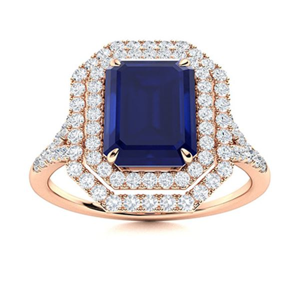 Natural 1.99 CTW Sapphire & Diamond Engagement Ring 18K Rose Gold