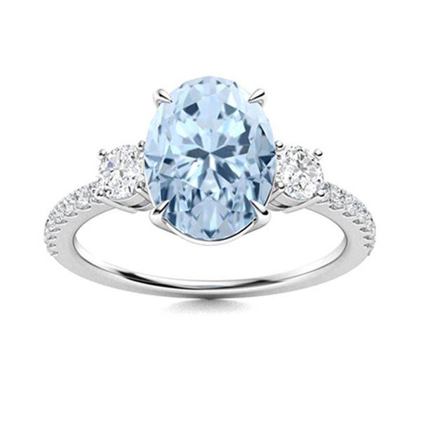 Natural 1.91 CTW Aquamarine & Diamond Engagement Ring 14K White Gold