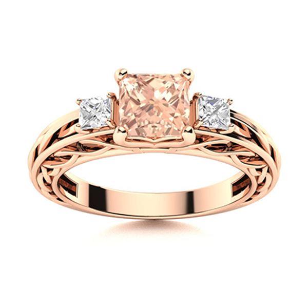 Natural 0.91 CTW Morganite & Diamond Engagement Ring 14K Rose Gold