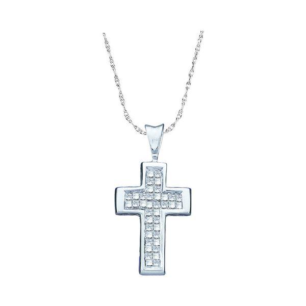 14kt White Gold Womens Princess Diamond Cross Religious Pendant 1/4 Cttw