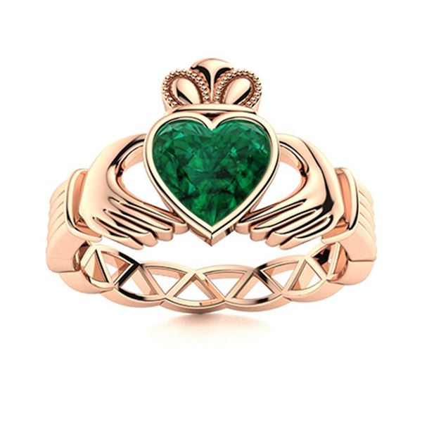 Natural 1.50 CTW Emerald Solitaire Ring 14K Rose Gold