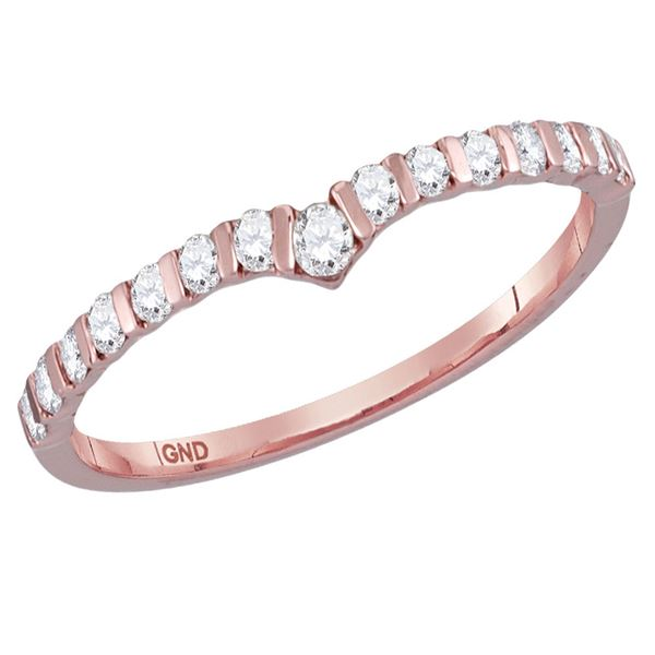 14kt Rose Gold Womens Round Diamond Chevron Stackable Band Ring 1/4 Cttw