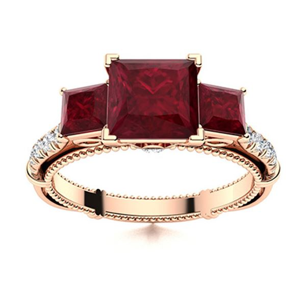 Natural 1.25 CTW Ruby & Diamond Engagement Ring 18K Rose Gold