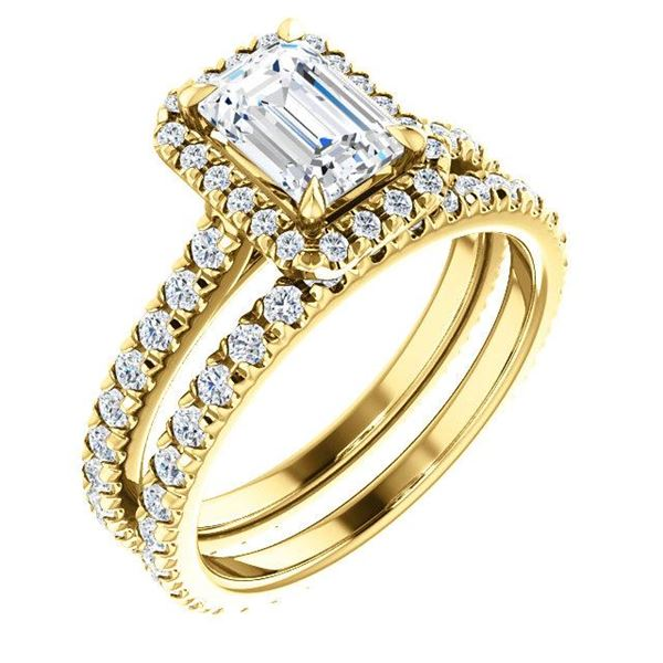 Natural 2.12 CTW Halo Emerald Cut Diamond Engagement Set 14KT Yellow Gold