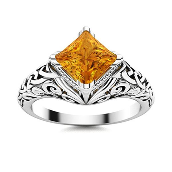 Natural 0.80 CTW Citrine Solitaire Ring 14K White Gold