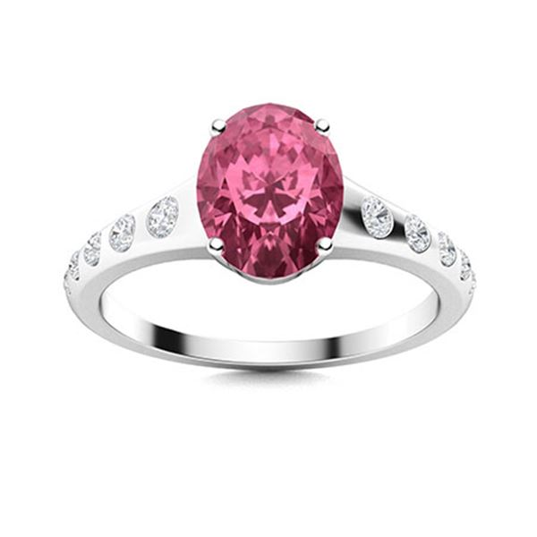 Natural 2.20 CTW Tourmaline & Diamond Engagement Ring 18K White Gold