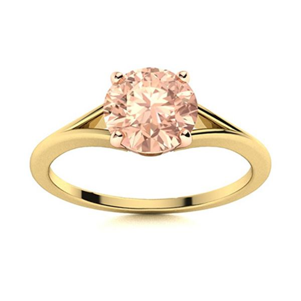 Natural 1.05 CTW Morganite Solitaire Ring 14K Yellow Gold