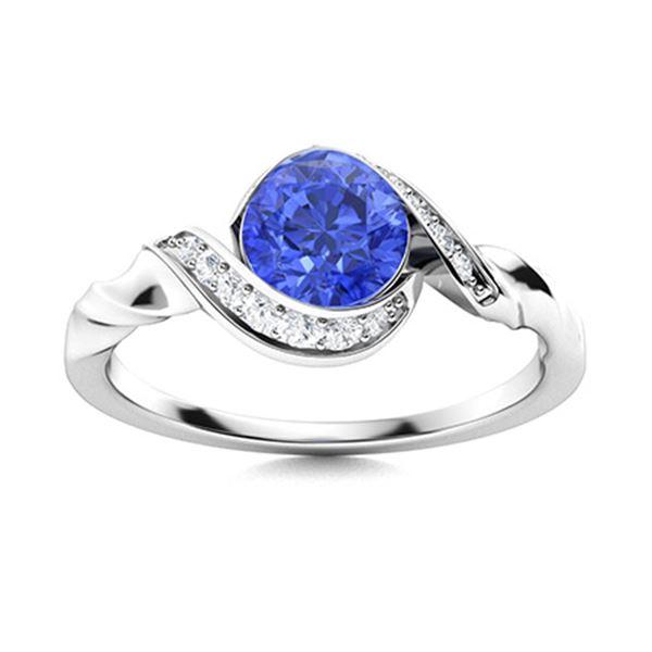 Natural 1.44 CTW Ceylon Sapphire & Diamond Engagement Ring 14K White Gold