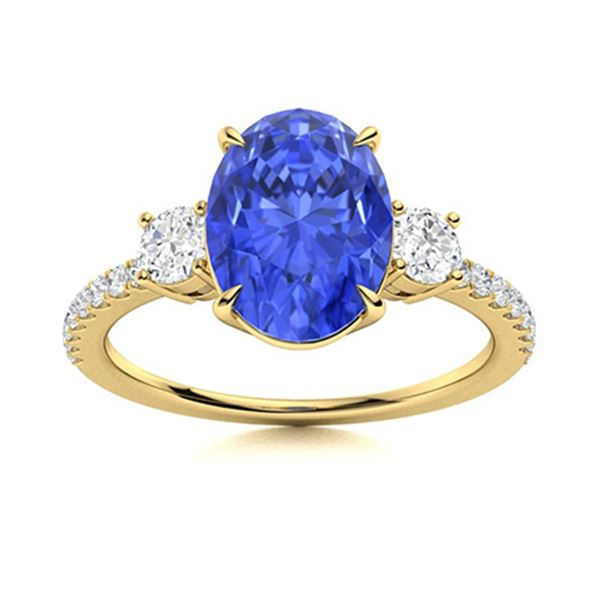 Natural 3.15 CTW Ceylon Sapphire & Diamond Engagement Ring 18K Yellow Gold