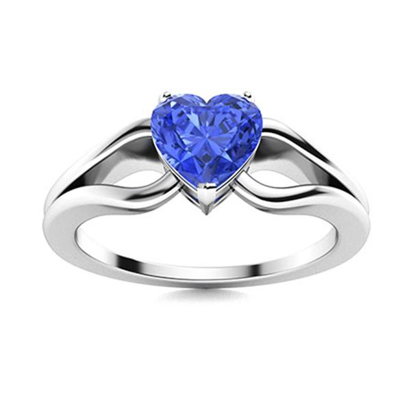 Natural 1.0 CTW Ceylon Sapphire Solitaire Ring 14K White Gold