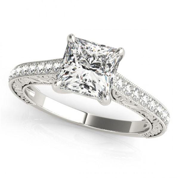 Natural 1.3 ctw Princess Diamond Ring 14k White Gold
