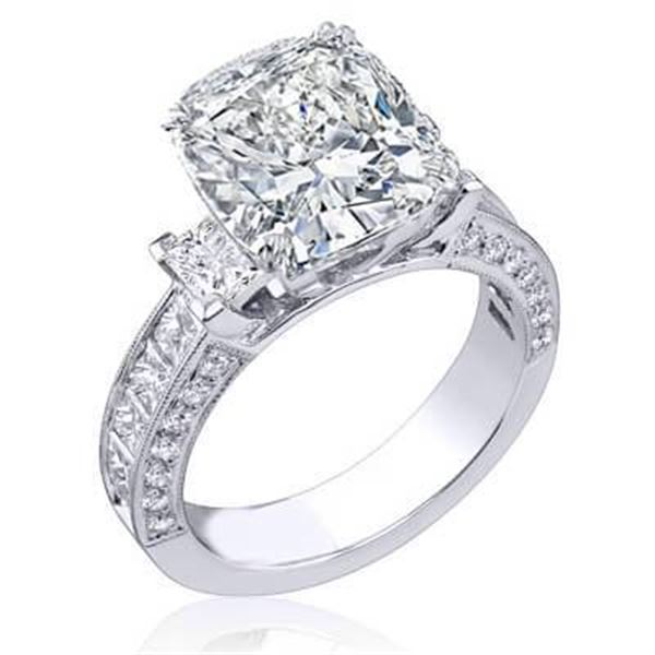 Natural 3.12 CTW Cushion Cut Diamond Engagement Ring 18KT White Gold
