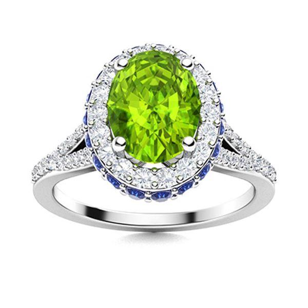 Natural 1.91 CTW Peridot, Sapphire & Diamond Engagement Ring 18K White Gold