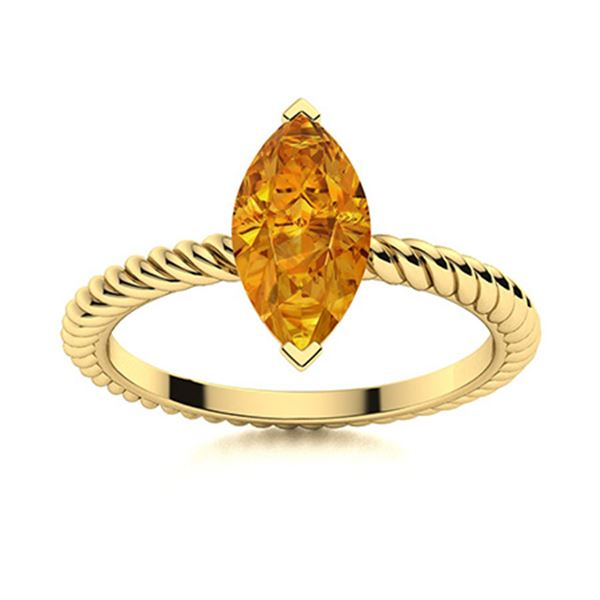 Natural 0.80 CTW Citrine Solitaire Ring 14K Yellow Gold