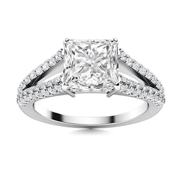 Natural 1.40 CTW Topaz & Diamond Engagement Ring 14K White Gold