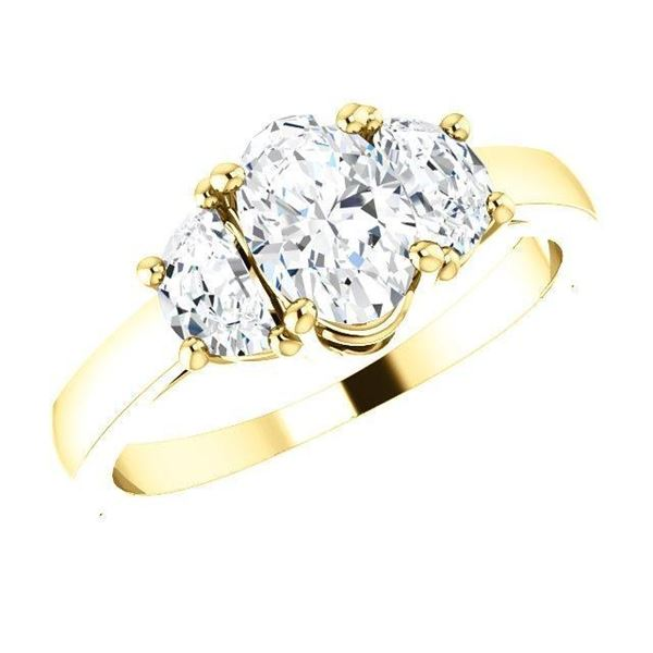 Natural 2.02 CTW Oval Cut & Half Moons 3-Stone Diamond Ring 18KT Yellow Gold