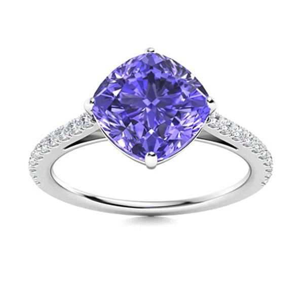 Natural 3.08 CTW Tanzanite & Diamond Engagement Ring 18K White Gold