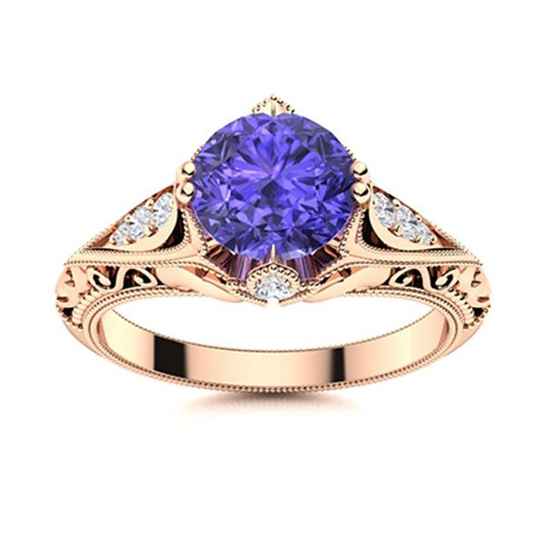 Natural 1.18 CTW Tanzanite & Diamond Engagement Ring 18K Rose Gold
