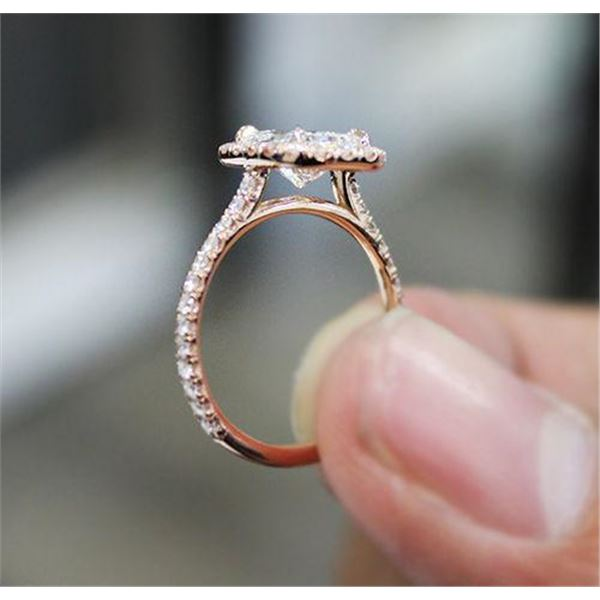 Natural 1.72 CTW Halo Cushion Cut Diamond Engagement Ring 18KT Rose Gold