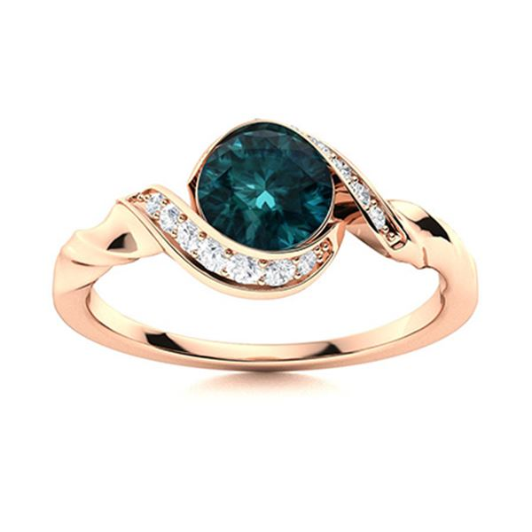 Natural 0.94 CTW Blue & White Diamond Engagement Ring 14K Rose Gold