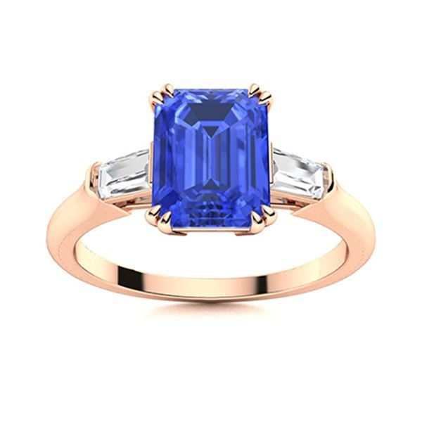 Natural 1.31 CTW Ceylon Sapphire & Diamond Engagement Ring 14K Rose Gold