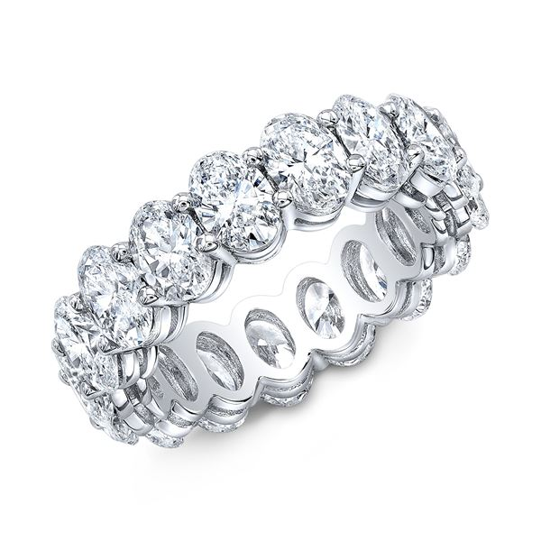 Natural 6.02 CTW Oval Cut Diamond Eternity Ring 14KT White Gold